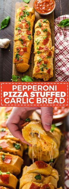 Pepperoni Pizza Stuf Pepperoni Pizza Stuffed Garlic Bread. A cheesy tomato-sauce spiked dip gets packed inside of buttery bread for an easy-to-make crowd-pleasing Super Bowl appetizer. | hostthetoast.com http://ift.tt/2ijNwFF