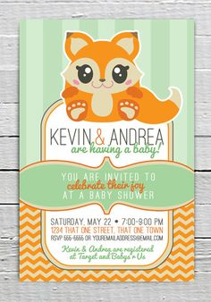 Coupon Code - REPIN10 for 10% off Custom Fox Baby Shower Invitation Printable, Baby Shower Stripes Chevron, Baby Shower supplies $10.99