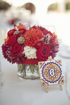 Love the idea of painting little tiles for table numbers (or rather, having a friend exercise her creativity). Wedding Themes, Wedding Styles, Wedding Decorations, Wedding Ideas, Mexican Wedding Centerpieces, Spanish Style Weddings, Spanish Wedding, Wedding Table, Our Wedding