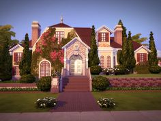 This gorgeous and comfy mansion is your Sims' dream estate. It has four bedrooms (one is a master bedroom), four bathrooms, two cars garage and an amazing backyard with a pool.  Found in TSR...
