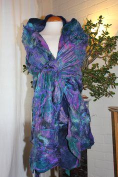 Purple Nuno felted silk wool shawl scarf wrap  jade by Angelab5705, £89.00
