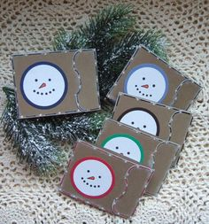 Hand Stamped Snowman Gift Card Holders
