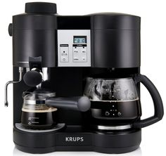 Become your own personal barista with the Krups Combi Steam Espresso Machine. The steam-driven machine brews the perfect cup of coffee and a strong expresso, while the included steam nozzle froths milk to create a delicious cappuccino. Coffee And Espresso Maker, Best Coffee Maker, Best Espresso, Drip Coffee Maker, Espresso Machine Reviews, Coffee Maker Reviews, Nespresso, Krups Coffee, Coffee Making Machine
