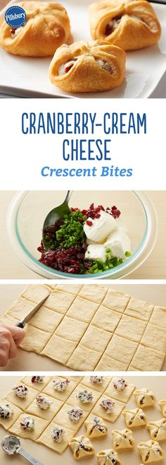 "Cranberry-Cream Cheese Crescent Bites: use pastry dpugh? these one-bite cranberry and jalapeño-cream cheese crescent appetizers are easy to make and sure to be a ""wow"" with your guests. Tapas, Snacks Für Party, Appetizers For Party, Delicious Appetizers, Cream Cheese Appetizers, One Bite Appetizers, Appetizer Dessert, Vegetarian Appetizers, Easy Snacks"