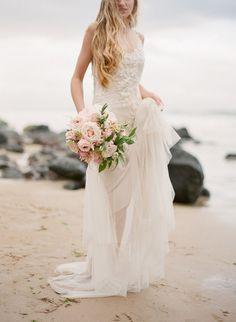 romantic, blush, beaded and embroidered Sarah Janks Briana wedding gown on a Northern Ireland beach.  Image: photographer Paula O'Hara!
