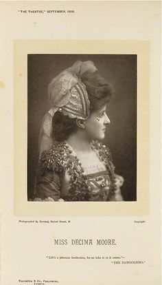 """1890 Woodburytype of a Barraud photograph of Decima Moore as Casilda in the original DOC production of """"The Gondoliers"""" (1889) at the Savoy Theatre."""