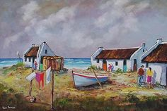 Buy Washing Done, Oil painting by Louis Pretorius on Artfinder. Discover thousands of other original paintings, prints, sculptures and photography from independent artists. Landscape Art, Landscape Paintings, Watercolor Paintings, Original Paintings, Lighthouse Painting, Boat Painting, Bob Ross Art, Fishermans Cottage, Mini Canvas Art