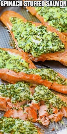 Spinach Stuffed Salmon – spinach, cream cheese, feta, and mozzarella stuffing. Easy to make and great for family, friends, or entertaining! FOLLOW Cooktoria for more deliciousness! # Gluten Free Recipes For Dinner, Healthy Dinner Recipes, Easy Recipes, Keto Recipes, Vegetarian Recipes, Easy Meals, Cooking Recipes, Mozzarella, Baked Salmon Recipes