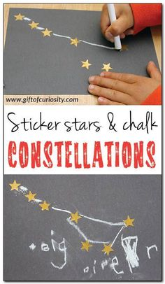 Sticker Stars & Chalk Constellations / A fun constellation craft for kids using gold stars and chalk on black paper. This craft builds constellation knowledge and supports the development of fine motor skills and spatial awareness. Space Preschool, Preschool Science, Science Activities, Preschool Activities, Outer Space Crafts For Kids, Space Activities For Kids, Space Kids, Constellation Craft, Constellation Activities