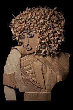 Golden Curls / Ali Golzad Recycled, Corrugated Cardboard 83cm x 61cm (32″x 24″)
