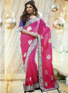 Sunshine Pink color Printed #Saree With Zari Work #designersarees #clothing #womenswear #womenapparel #ethnicwear