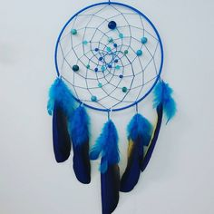 """""""Blue with lots of beads""""- I like the way this 8 year old thinks! Blue, Yellow, Dream Catchers, Beads, Artwork, Crafts, Diy, Mandalas, Octopus"""