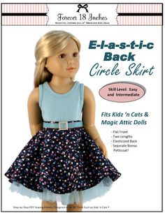 ELASTIC-BACK CIRCLE SKIRT FOR KIDZ N CATS DOLLS