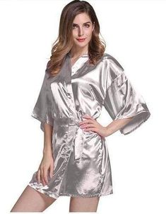 83a12810ac Women Silk Satin Short Night Robe Solid Kimono Robe Fashion Bath Robe Sexy  Bathrobe Peignoir Femme Wedding Bride Bridesmaid Robe