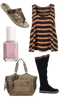 ELECTRA ZORA boots, Topshop Striped Vest, iPanema flip flops, George Gina Lucy Travel Bag, Essie Nail Polish