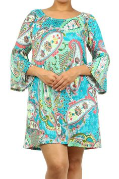 Blue/Mint Floral Dress - #blondellamydean #plussizefashion #plussize #curves
