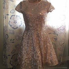 Salmon Pink Sequin Party Dress Only worn twice. Missing silver belt, but can be worn without it. Deb Dresses Prom