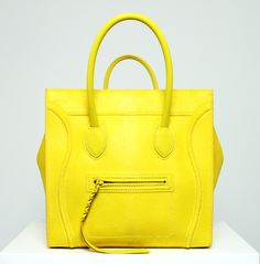 neon yellow Celine luggage tote.