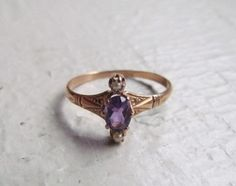 Antique Victorian 14k Gold Ring With Amethyst And by LUXXORVintage, $326.00