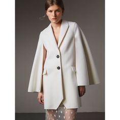 BURBERRY Double-Faced Wool Cape Coat. #burberry #cloth #