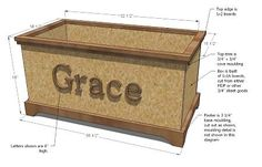 Toy box plans to modify.  Add lid.  Nix the letters.
