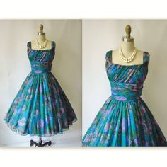 My mother had a similar dress! 1950's Ruched Chiffon Floral Shelf Bust Cocktail Party Mad Men Dress