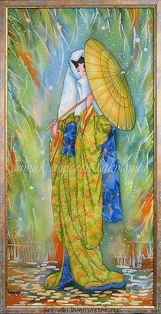 "Картина ""Девушка с золотым зонтиком"" батик - Батик,картина батик,картина японка"