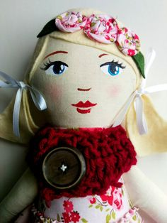 Handmade Cloth Doll Blond Ponytails Pink and Red by HenAndChick