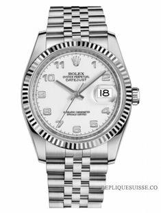 f33731ff55c Réplique Montre Rolex Datejust 36mm acier cadran blanc Jubile Bracelet  116234 WAJ