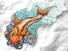 Large Tattoo-Style Koi Embroidered Patch