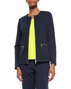 Stretch Interlock Zip-Front Jacket, Size: 1 (6/8), Navy - Joan Vass