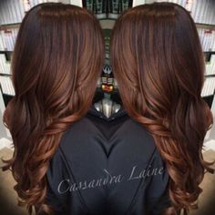 Deep Rich chocolate haircolor with hot curls