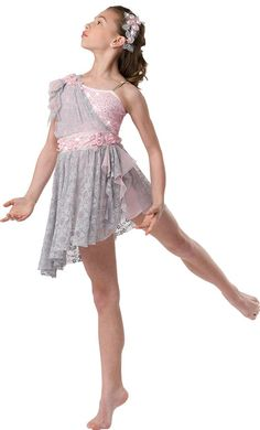 Ballet 1 -------- Pink sequin mesh over pink lycra shortie unitard with gray lace drape. Attached lace skirt with tendril detail. Modern Dance Costume, Dance Recital Costumes, Girls Dance Costumes, Lyrical Costumes, Ballet Costumes, Cheer Outfits, Dance Outfits, Dance Dresses, Boris Vallejo