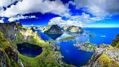 norwegen fjorde lofoten blau gruen