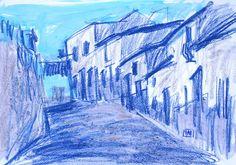 Calle de pueblo azul Paisaje Fuente Obejuna por PINACOTHECULA