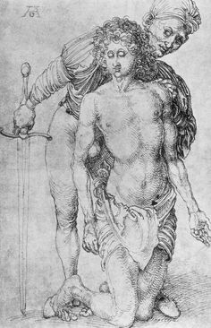 """Youth with executioner via Albrecht Durer """