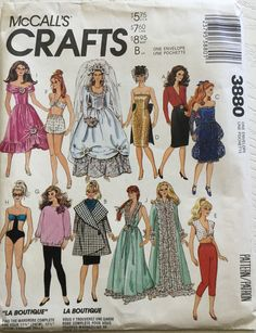 McCalls Pattern for Barbie and other Teen Dolls Sewing Barbie Clothes, Barbie Sewing Patterns, Doll Clothes Patterns, Doll Patterns, Vintage Patterns, Clothing Patterns, Barbie And Ken, Barbie Dolls, Barbie Stuff