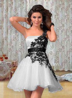 Abiballkleider - $144.99 - New Style A-Linie/Princess-Linie One-Shoulder-Träger Kurz/Mini Satin Tüll Spitze Abiballkleider mit Rüschen Schleifenband/Stoffgürtel (022004454) http://jenjenhouse.com/de/pinterest-g4454
