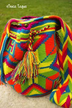 Mochila Wayuu - Ethnic wayuu bag - Colores Fluor - ask for the price !!!