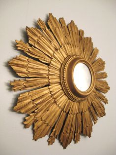 Antique GOLD SUNBURST Italian Convex Wall MIRROR