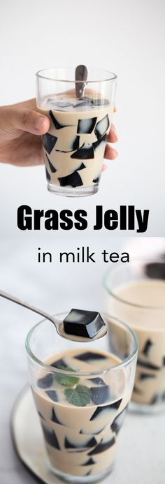 Grass Jelly (cincau) grass jelly in milk tea, grass jelly drink Jelly Desserts, Jelly Recipes, Asian Desserts, Tea Recipes, Dessert Recipes, Recipies, Thumbprint Cookies, Grass Jelly Drink, Bubble Pearl