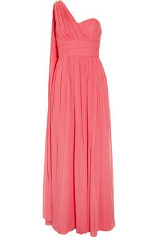 Stuning: Notte by MARCHESA  One-shoulder embellished silk-chiffon gown