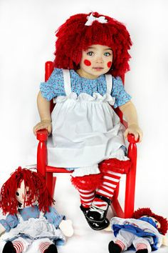 Raggedy Ann Inspired Wig Sizes Newborn3 Years by InTheLoopBowtique $30.00 · Baby Halloween CostumesCarnival ...  sc 1 st  Pinterest & Raggedy Ann Costume Babysize with wig and socks by MackAbooLLC on ...