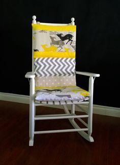 Rocking Chair Cushion Cover - Yellow Deer Polka Dot Chevron Multiprint by RockinCushions on Etsy