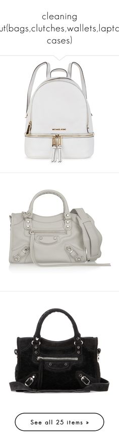 """""""cleaning out(bags,clutches,wallets,laptop cases)"""" by aceofsuburbia ❤ liked on Polyvore featuring bags, backpacks, white rucksack, real leather backpack, backpacks bags, michael kors backpack, leather knapsack, handbags, purses and handbags satchels"""