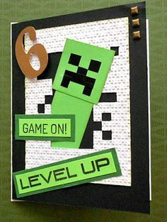 Minecraft Cards, Minecraft Birthday Card, Birthday Cards For Boys, Handmade Birthday Cards, Minecraft Room, Male Birthday, Minecraft Ideas, 8th Birthday, Handmade Cards