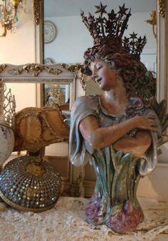 She should really belong to me. Art Nouveau Goddess Chalkware Bust by ParisPanacheAntiques on Etsy, $1600.00