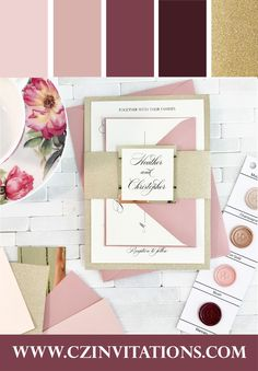 This Gold glitter Wedding invitation with Dusty Pink and Burgundy envelopes is perfect colors for your 2021 wedding! Burgundy Wedding Invitations, Glitter Invitations, Unique Invitations, Printable Wedding Invitations, Wedding Stationery, Pink And Burgundy Wedding, Gold Glitter Wedding, Winter Wedding Colors, Marsala