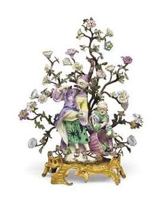 AN ORMOLU AND TOLE-PEINTE MOUNTED DERBY PORCELAIN CHINOISERIE FIGURE GROUP EMBLEMATIC OF TASTE THE PORCELAIN CIRCA 1752-1755, THE MODEL PROBABLY BY ANDREW PLANCHE OR AGOSTINO CARLINI, THE LOUIS XV ORMOLU BASE WITH THE 'C' COURONNE POINCON, CIRCA 1745-1749
