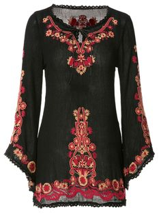 Floral Embroidery Lace Splicing Long Sleeve Dress BLACK: Print Dresses | ZAFUL